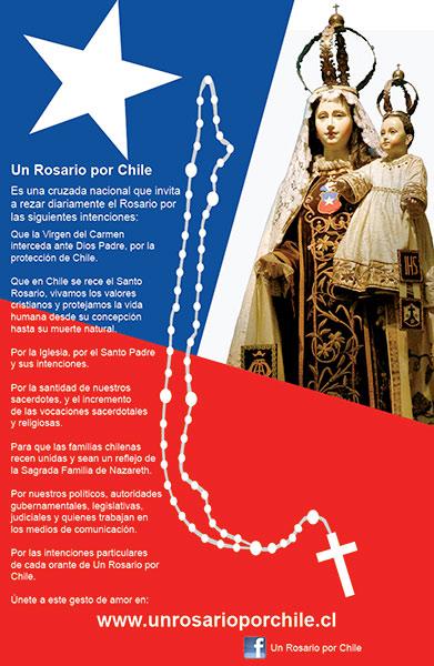 afiche de un rosario por chile
