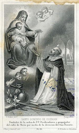 sto domingo recibe el rosario de manos de la virgen